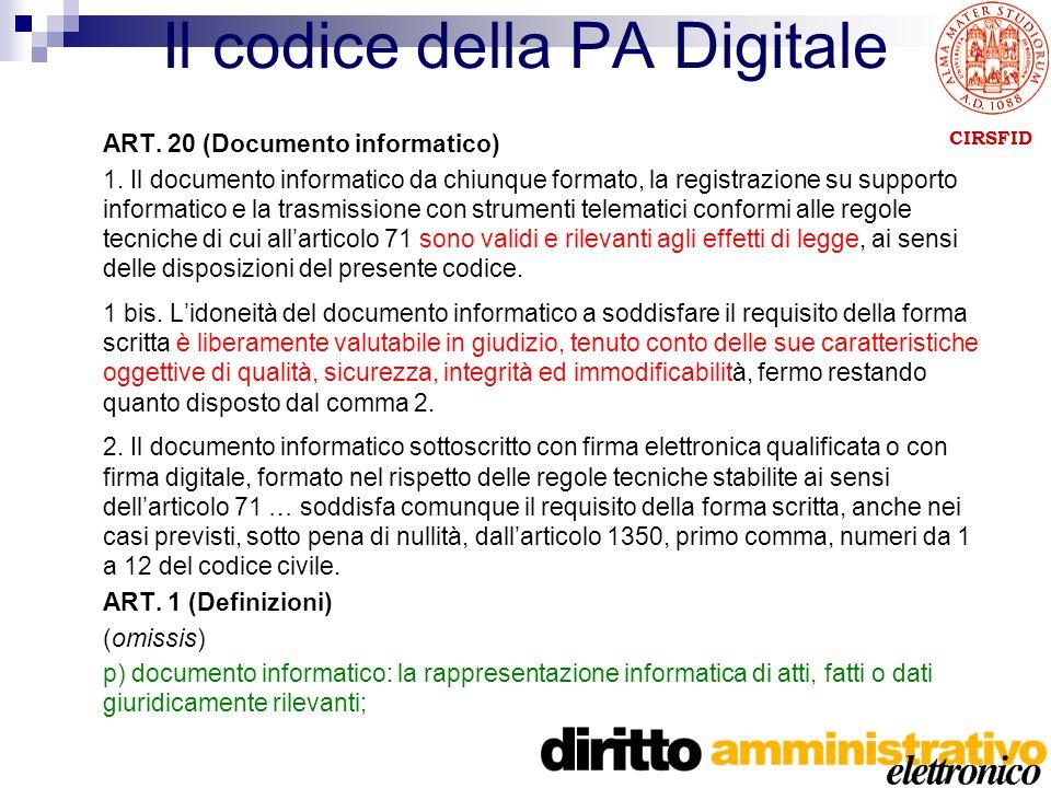 CIRSFID Il codice della PA Digitale ART. 20 (Documento informatico) 1.
