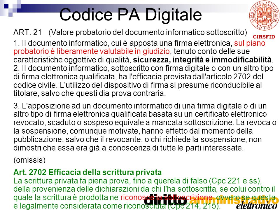 CIRSFID Codice PA Digitale ART. 21 (Valore probatorio del documento informatico sottoscritto) 1.