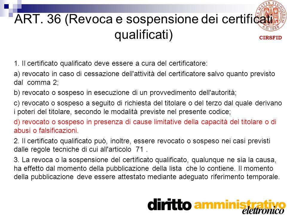 CIRSFID ART. 36 (Revoca e sospensione dei certificati qualificati) 1.