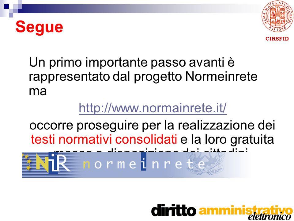 CIRSFID Un primo importante passo avanti è rappresentato dal progetto Normeinrete ma http://www.normainrete.it/ occorre proseguire per la realizzazione dei testi normativi consolidati e la loro gratuita messa a disposizione dei cittadini.