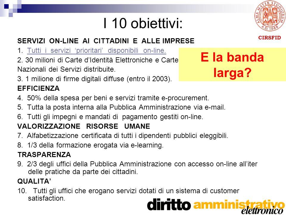 CIRSFID I 10 obiettivi: SERVIZI ON-LINE AI CITTADINI E ALLE IMPRESE 1.