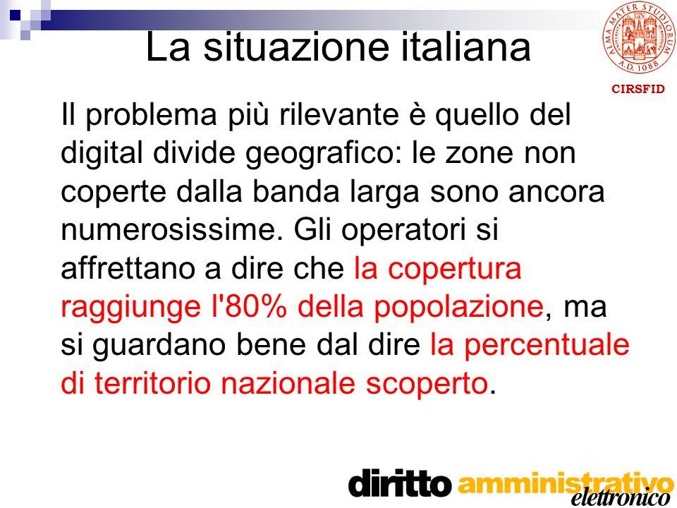 CIRSFID La situazione italiana Il problema più rilevante è quello del digital divide geografico: le zone non coperte dalla banda larga sono ancora numerosissime.