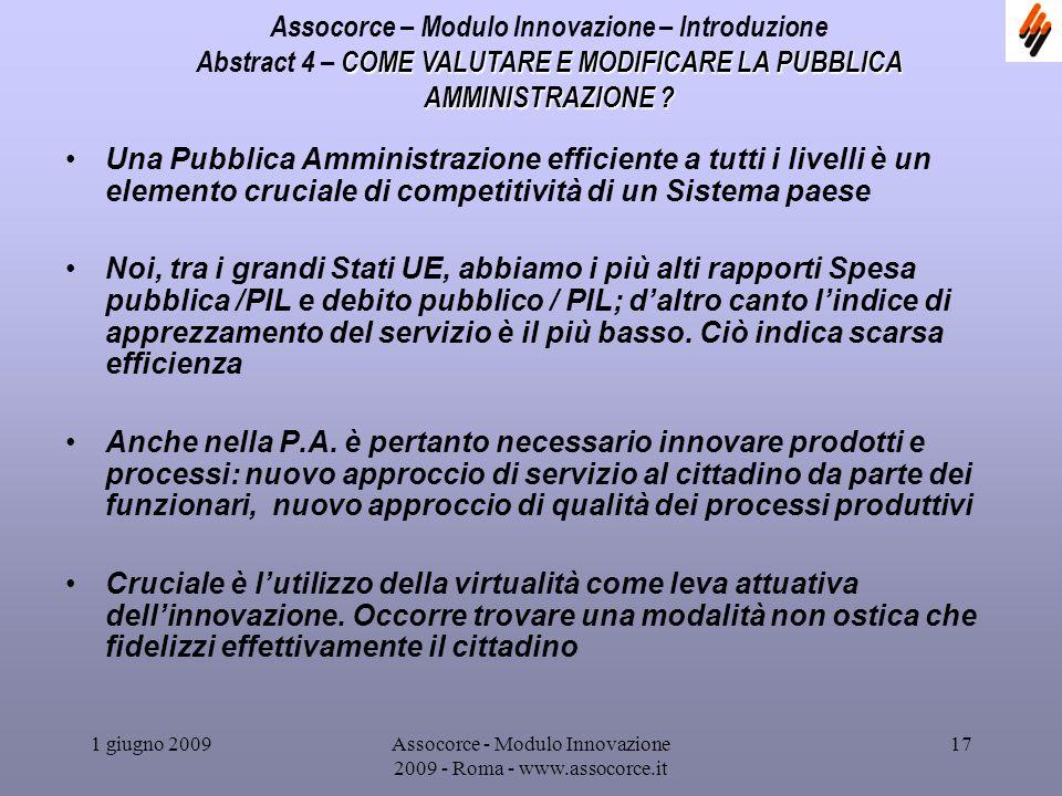 1 giugno 2009Assocorce - Modulo Innovazione 2009 - Roma - www.assocorce.it 17 Assocorce – Modulo Innovazione – Introduzione COME VALUTARE E MODIFICARE LA PUBBLICA AMMINISTRAZIONE .