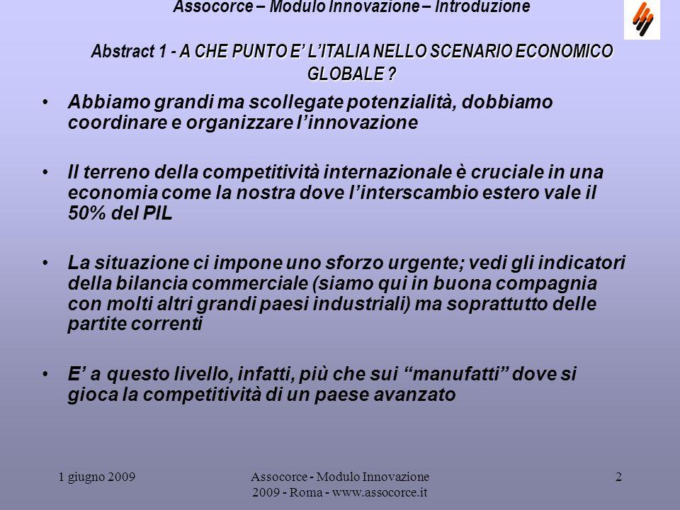 1 giugno 2009Assocorce - Modulo Innovazione 2009 - Roma - www.assocorce.it 3 Assocorce – Modulo Innovazione – Introduzione Si stabilizza la situazione di perdita di competitività internazionale dellItalia come evidenziano i conti con lestero.
