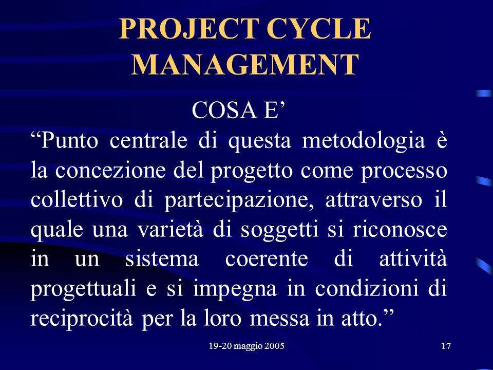 19-20 maggio 200517 PROJECT CYCLE MANAGEMENT COSA E Punto centrale di questa metodologia è la concezione del progetto come processo collettivo di part