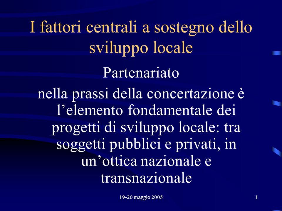 19-20 maggio 20051 I fattori centrali a sostegno dello sviluppo locale Partenariato nella prassi della concertazione è lelemento fondamentale dei prog