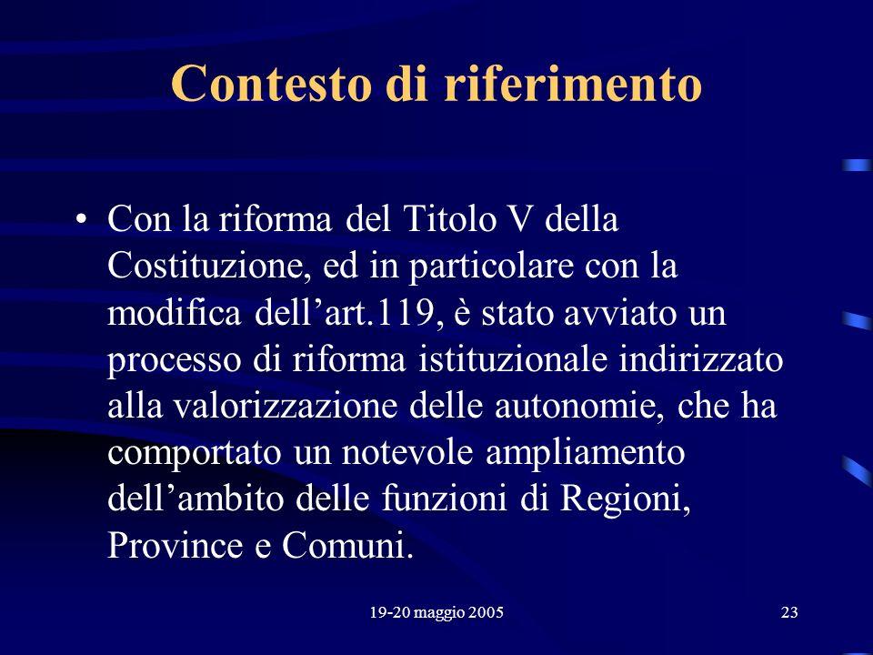 19-20 maggio 200523 Contesto di riferimento Con la riforma del Titolo V della Costituzione, ed in particolare con la modifica dellart.119, è stato avv
