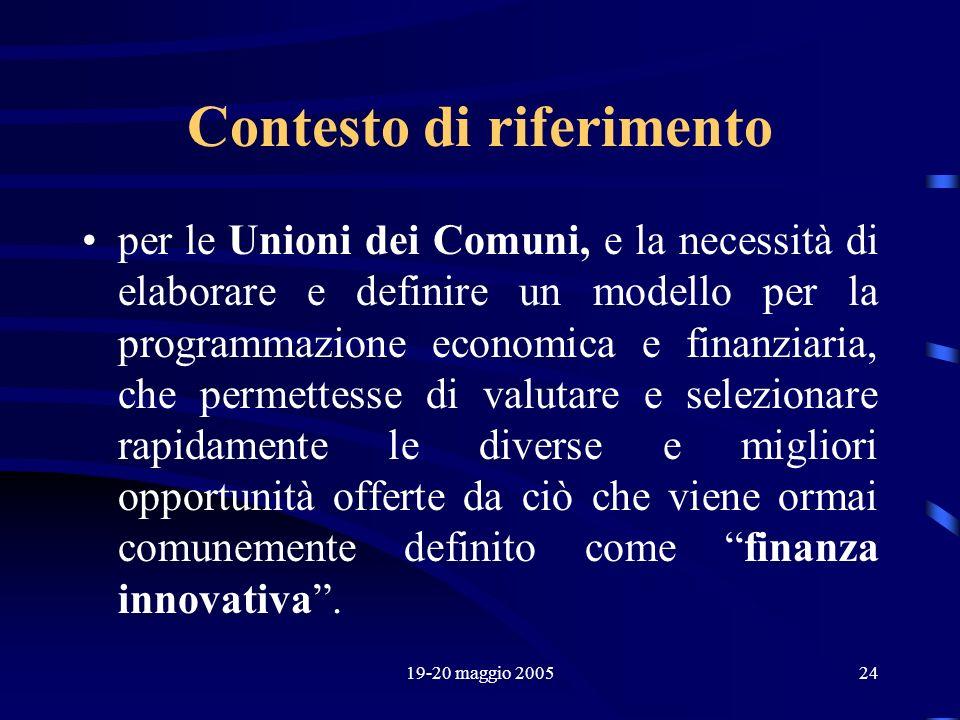 19-20 maggio 200524 Contesto di riferimento per le Unioni dei Comuni, e la necessità di elaborare e definire un modello per la programmazione economic