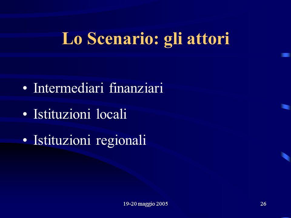 19-20 maggio 200526 Lo Scenario: gli attori Intermediari finanziari Istituzioni locali Istituzioni regionali