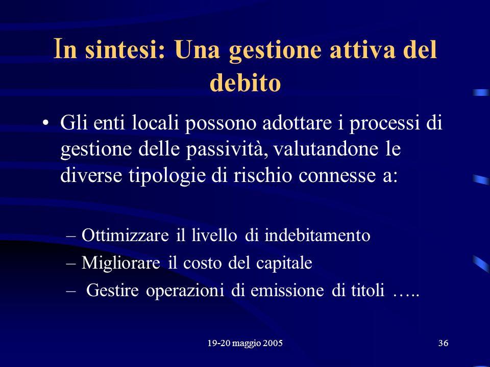 19-20 maggio 200536 I n sintesi: Una gestione attiva del debito Gli enti locali possono adottare i processi di gestione delle passività, valutandone l