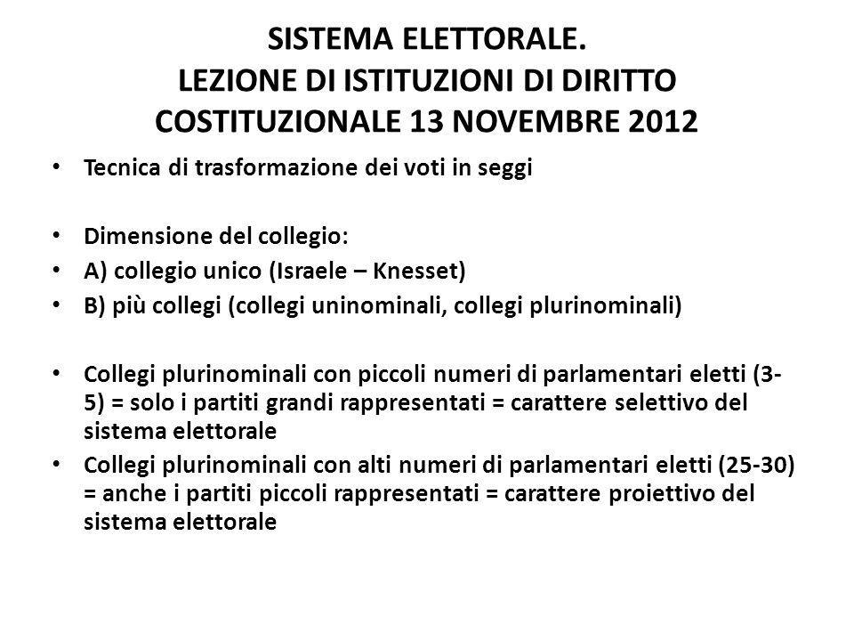 SISTEMA ELETTORALE. LEZIONE DI ISTITUZIONI DI DIRITTO COSTITUZIONALE 13 NOVEMBRE 2012 Tecnica di trasformazione dei voti in seggi Dimensione del colle