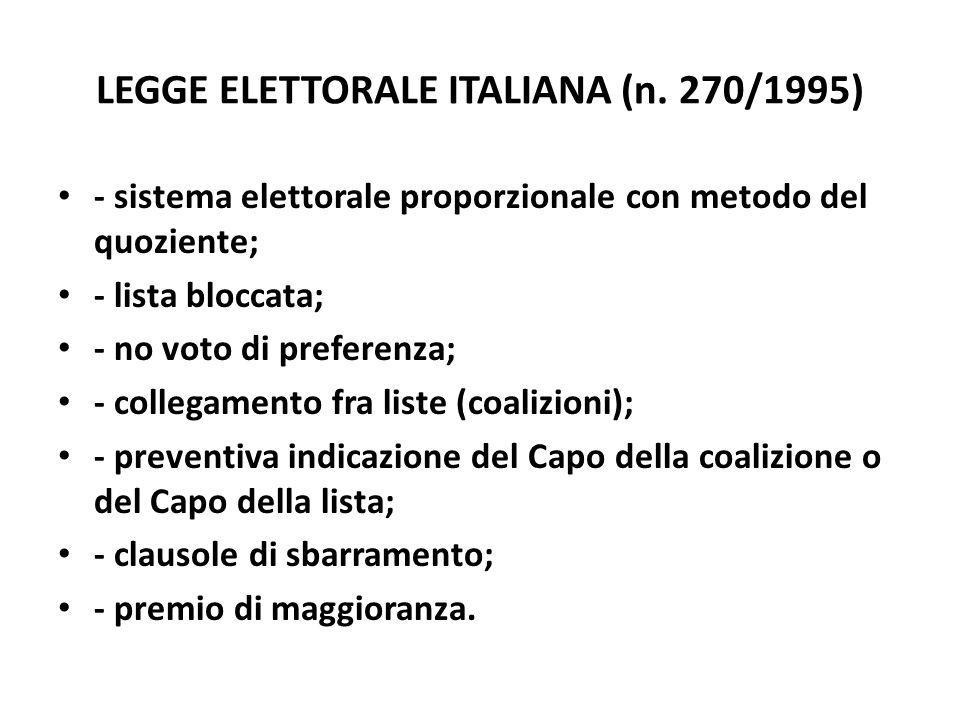 LEGGE ELETTORALE ITALIANA (n. 270/1995) - sistema elettorale proporzionale con metodo del quoziente; - lista bloccata; - no voto di preferenza; - coll