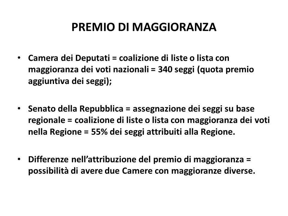 PREMIO DI MAGGIORANZA Camera dei Deputati = coalizione di liste o lista con maggioranza dei voti nazionali = 340 seggi (quota premio aggiuntiva dei se