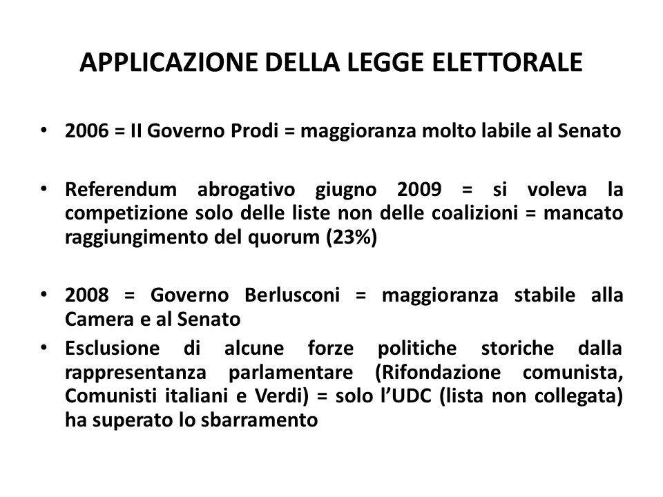 APPLICAZIONE DELLA LEGGE ELETTORALE 2006 = II Governo Prodi = maggioranza molto labile al Senato Referendum abrogativo giugno 2009 = si voleva la comp