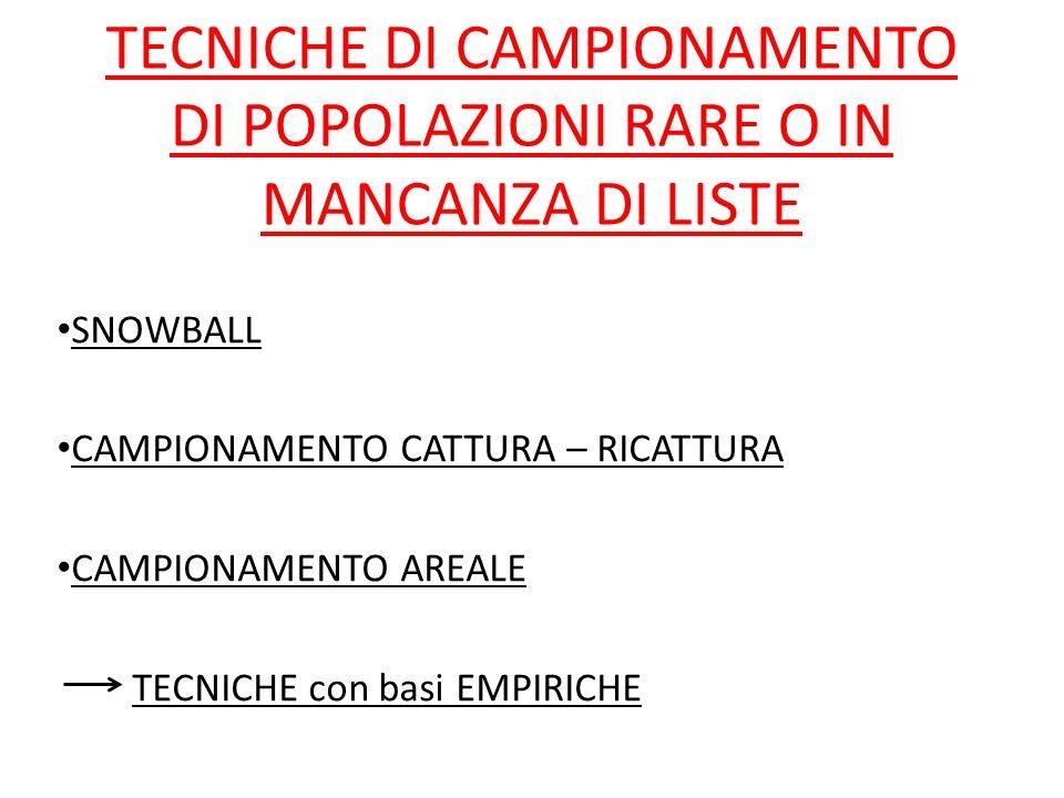 Condizione a), b), c), d) + INDIPENDENZA DELLE FONTI (n = m) CAMPIONAMENTO AREALE Applicazione in indagini ecologiche.