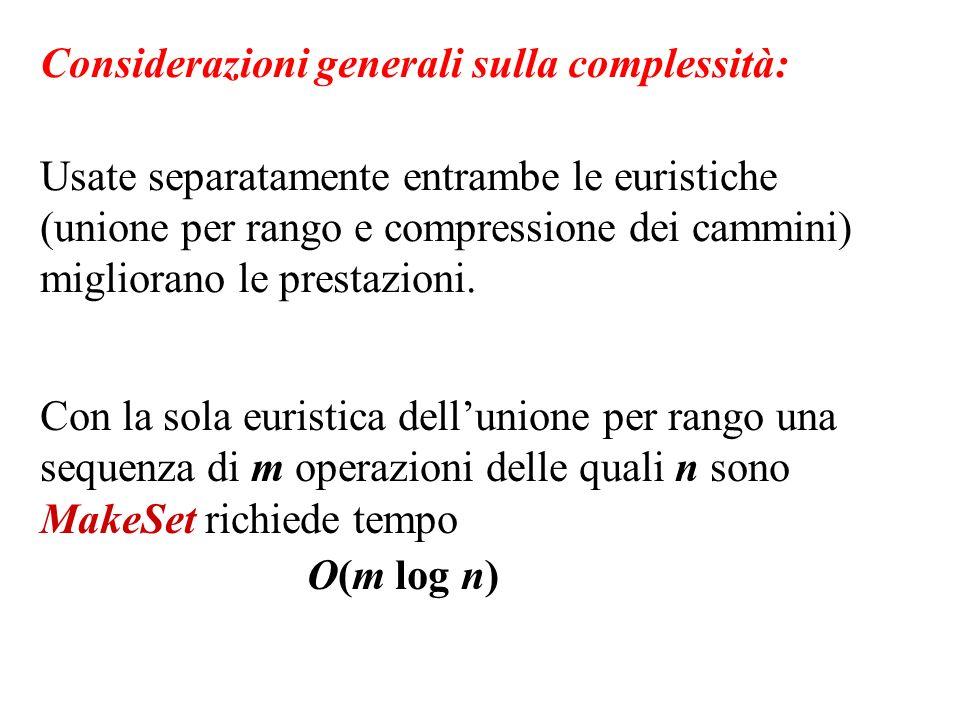 Considerazioni generali sulla complessità: Usate separatamente entrambe le euristiche (unione per rango e compressione dei cammini) migliorano le pres