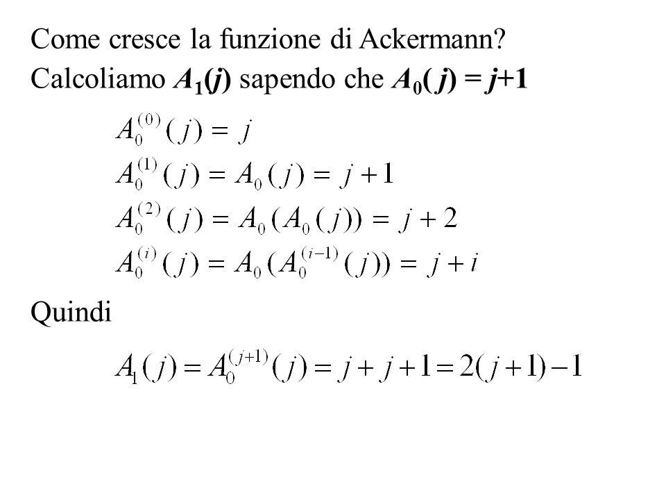 Come cresce la funzione di Ackermann? Calcoliamo A 1 (j) sapendo che A 0 ( j) = j+1 Quindi