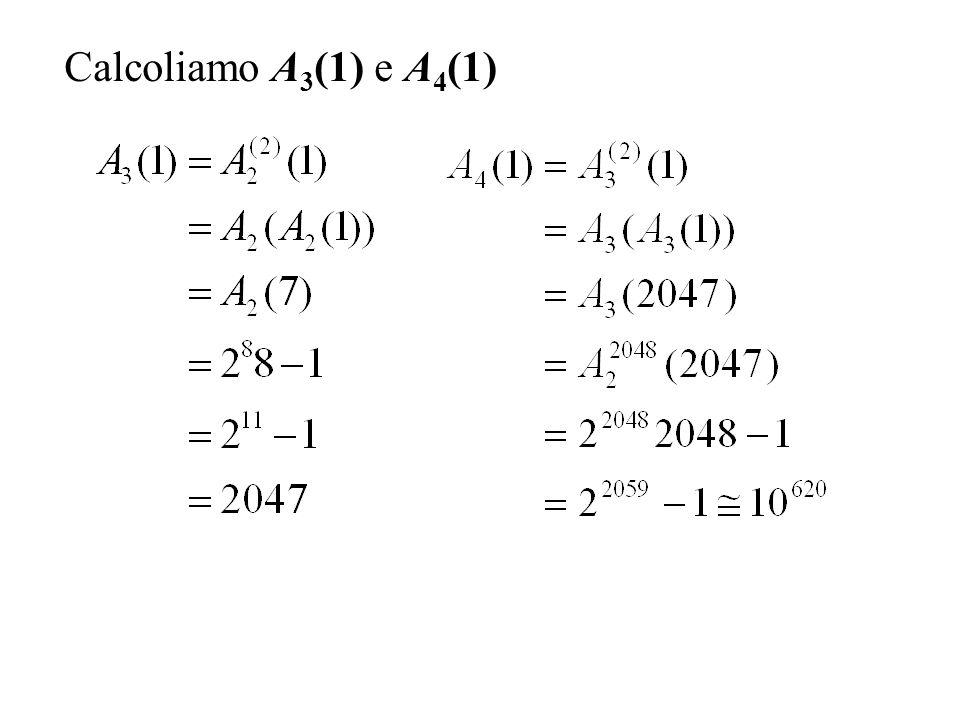 Calcoliamo A 3 (1) e A 4 (1)