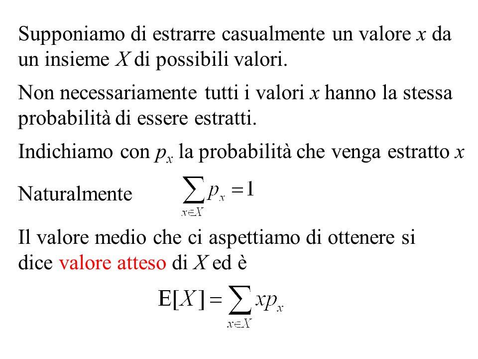 Supponiamo di estrarre casualmente un valore x da un insieme X di possibili valori. Non necessariamente tutti i valori x hanno la stessa probabilità d