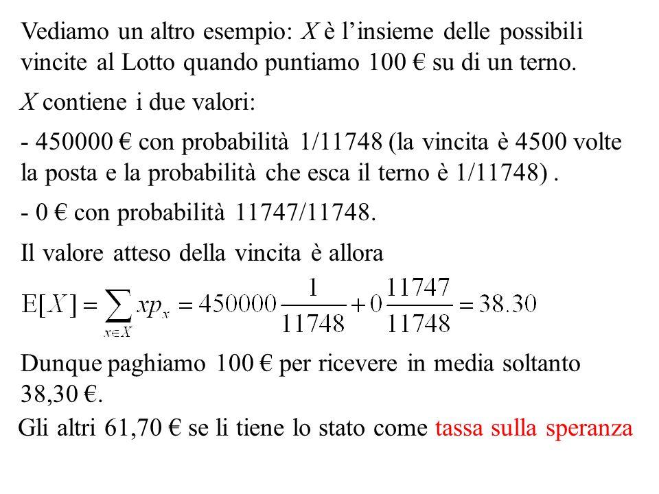 Vediamo un altro esempio: X è linsieme delle possibili vincite al Lotto quando puntiamo 100 su di un terno. X contiene i due valori: - 450000 con prob