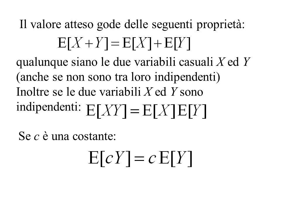 Il valore atteso gode delle seguenti proprietà: qualunque siano le due variabili casuali X ed Y (anche se non sono tra loro indipendenti) Inoltre se l