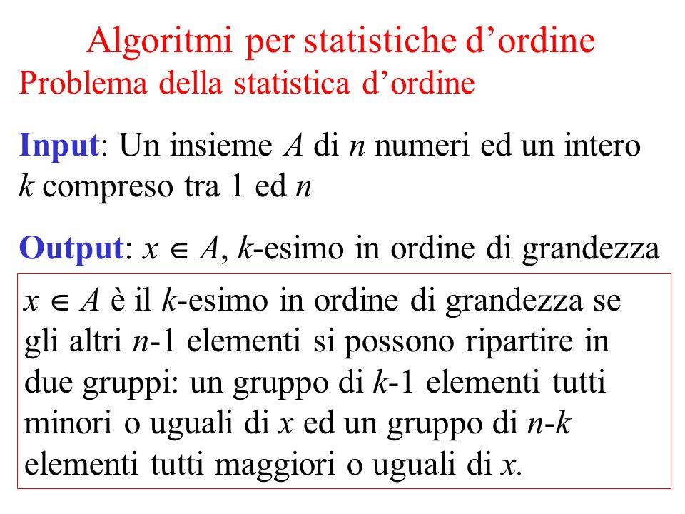 Algoritmi per statistiche dordine Problema della statistica dordine Input: Un insieme A di n numeri ed un intero k compreso tra 1 ed n Output: x A, k-
