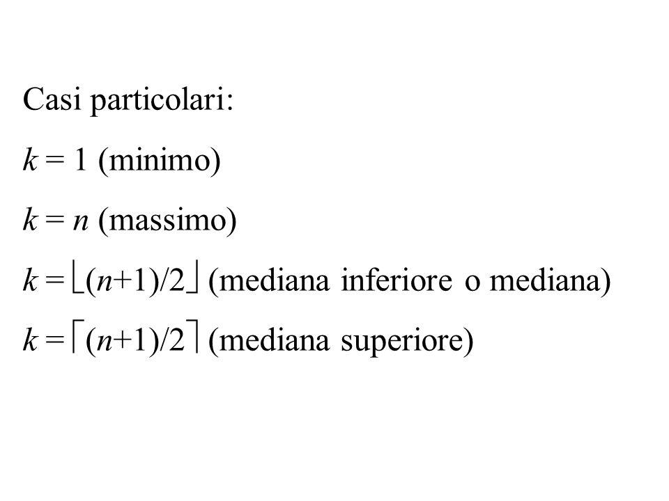 Casi particolari: k = 1 (minimo) k = n (massimo) k = (n+1)/2 (mediana inferiore o mediana) k = (n+1)/2 (mediana superiore)
