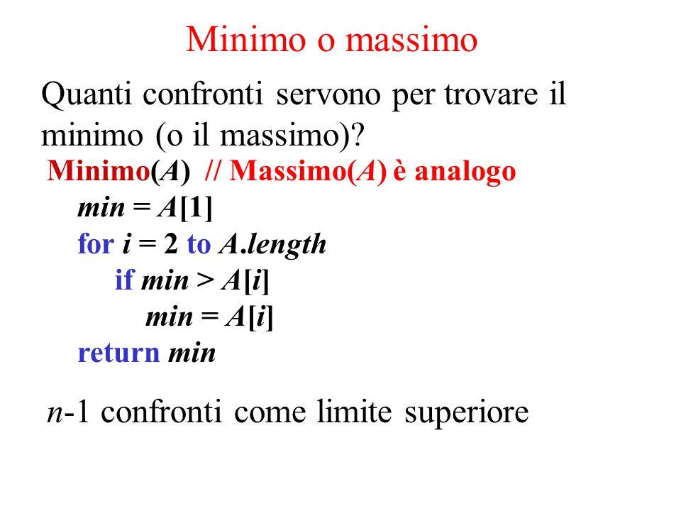 Minimo o massimo Quanti confronti servono per trovare il minimo (o il massimo)? Minimo(A) // Massimo(A) è analogo min = A[1] for i = 2 to A.length if