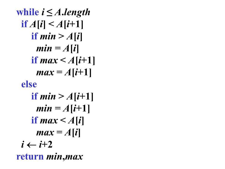 while i A.length if A[i] < A[i+1] if min > A[i] min = A[i] if max < A[i+1] max = A[i+1] else if min > A[i+1] min = A[i+1] if max < A[i] max = A[i] i i