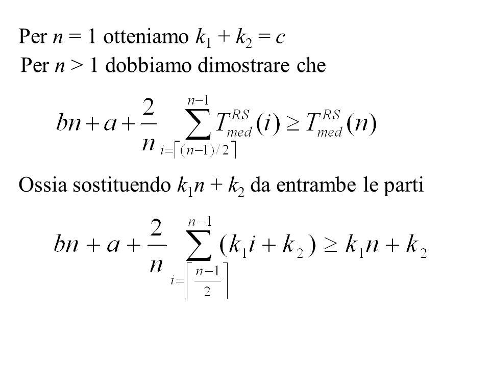 Per n = 1 otteniamo k 1 + k 2 = c Per n > 1 dobbiamo dimostrare che Ossia sostituendo k 1 n + k 2 da entrambe le parti