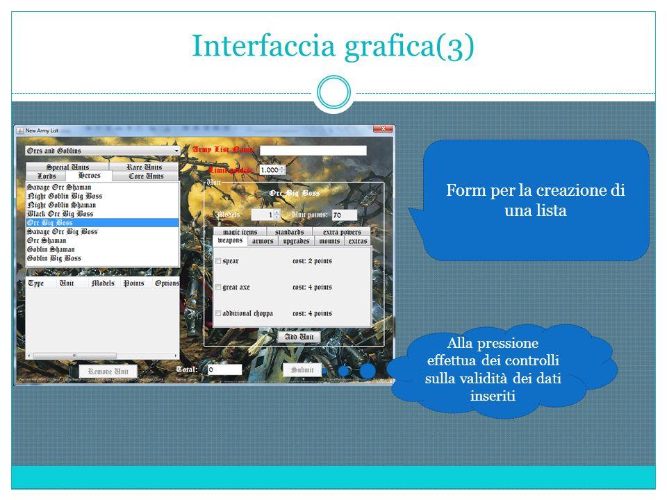 Interfaccia grafica(3) Form per la creazione di una lista Alla pressione effettua dei controlli sulla validità dei dati inseriti