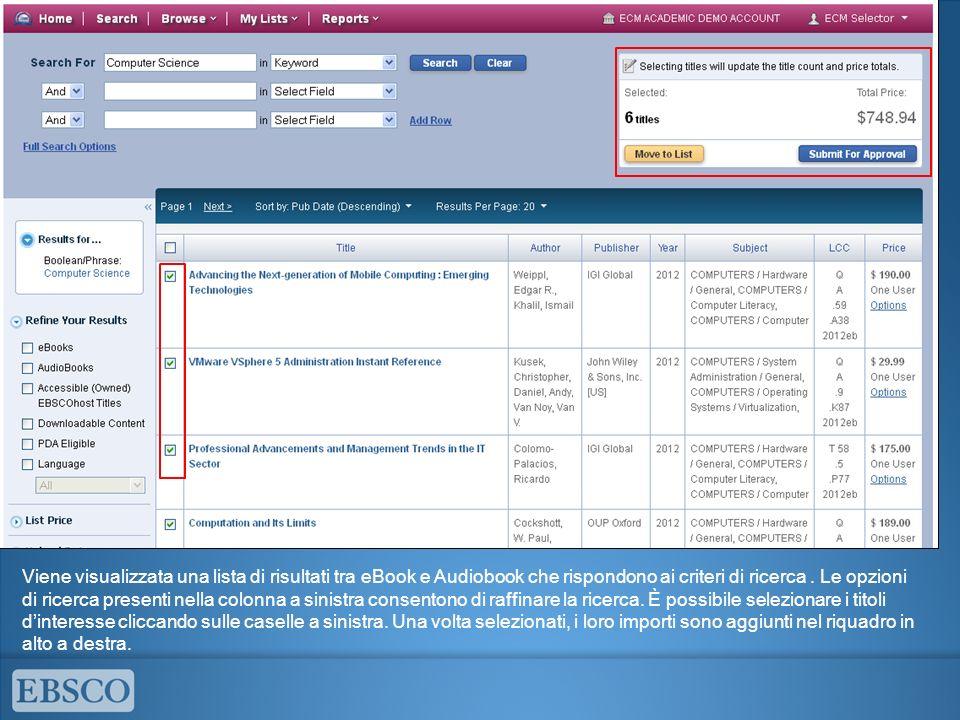 Viene visualizzata una lista di risultati tra eBook e Audiobook che rispondono ai criteri di ricerca. Le opzioni di ricerca presenti nella colonna a s