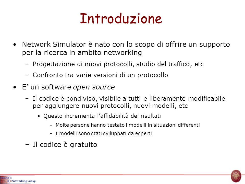 Introduzione Network Simulator è nato con lo scopo di offrire un supporto per la ricerca in ambito networking –Progettazione di nuovi protocolli, stud