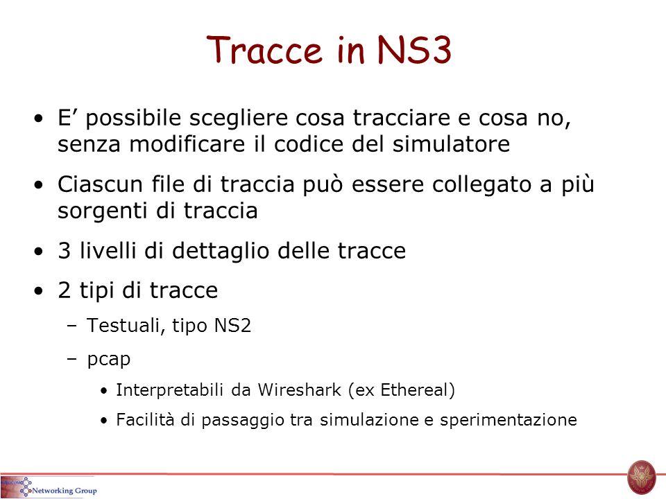 Tracce in NS3 E possibile scegliere cosa tracciare e cosa no, senza modificare il codice del simulatore Ciascun file di traccia può essere collegato a