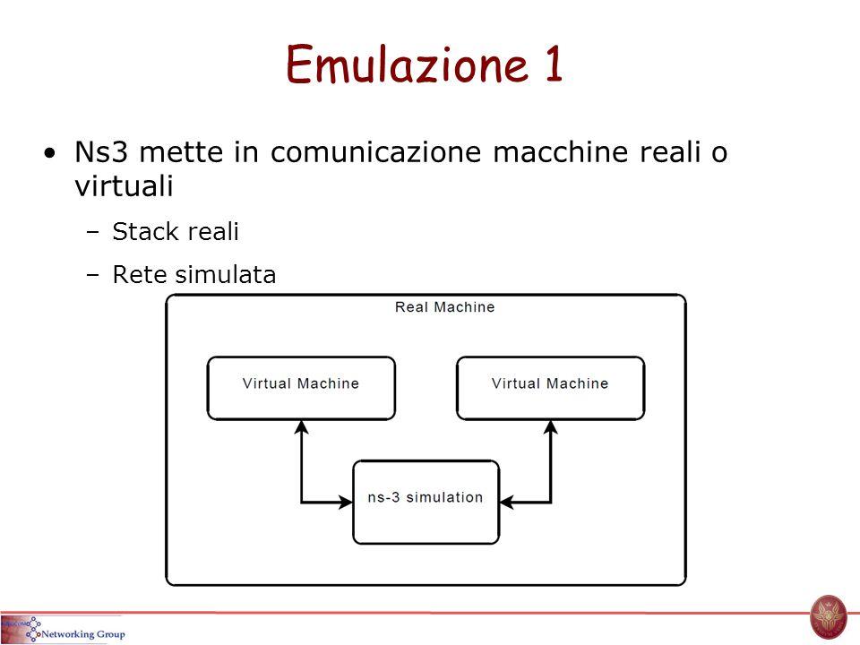 Emulazione 1 Ns3 mette in comunicazione macchine reali o virtuali –Stack reali –Rete simulata