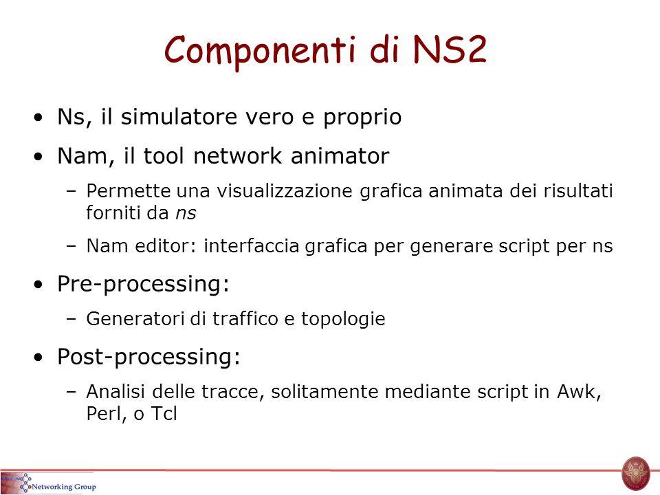 Componenti di NS2 Ns, il simulatore vero e proprio Nam, il tool network animator –Permette una visualizzazione grafica animata dei risultati forniti d