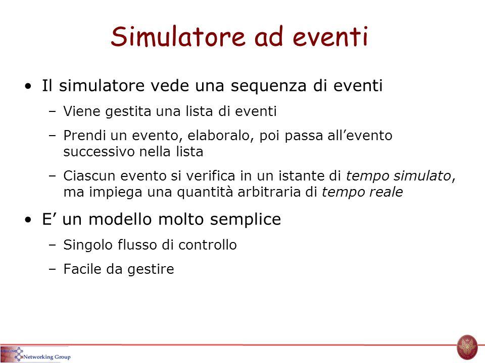 Simulatore ad eventi Il simulatore vede una sequenza di eventi –Viene gestita una lista di eventi –Prendi un evento, elaboralo, poi passa allevento successivo nella lista –Ciascun evento si verifica in un istante di tempo simulato, ma impiega una quantità arbitraria di tempo reale E un modello molto semplice –Singolo flusso di controllo –Facile da gestire
