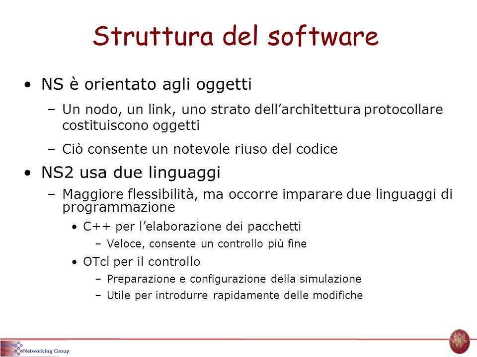 Struttura del software NS è orientato agli oggetti –Un nodo, un link, uno strato dellarchitettura protocollare costituiscono oggetti –Ciò consente un