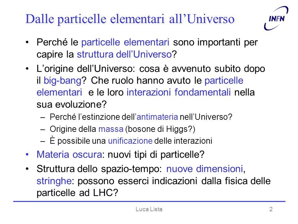 Luca Lista2 Dalle particelle elementari allUniverso Perché le particelle elementari sono importanti per capire la struttura dellUniverso? Lorigine del