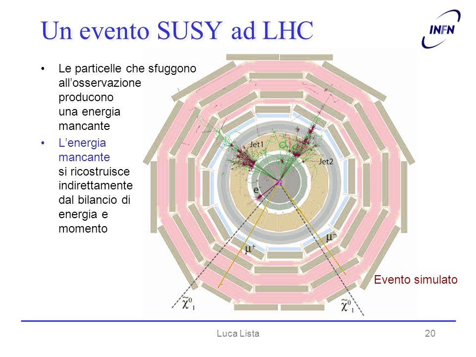 Un evento SUSY ad LHC Le particelle che sfuggono allosservazione producono una energia mancante Lenergia mancante si ricostruisce indirettamente dal b