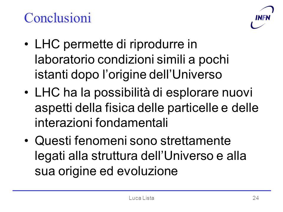 Luca Lista24 Conclusioni LHC permette di riprodurre in laboratorio condizioni simili a pochi istanti dopo lorigine dellUniverso LHC ha la possibilità