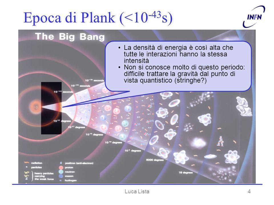 4 Epoca di Plank (<10 -43 s) La densità di energia è così alta che tutte le interazioni hanno la stessa intensità Non si conosce molto di questo perio