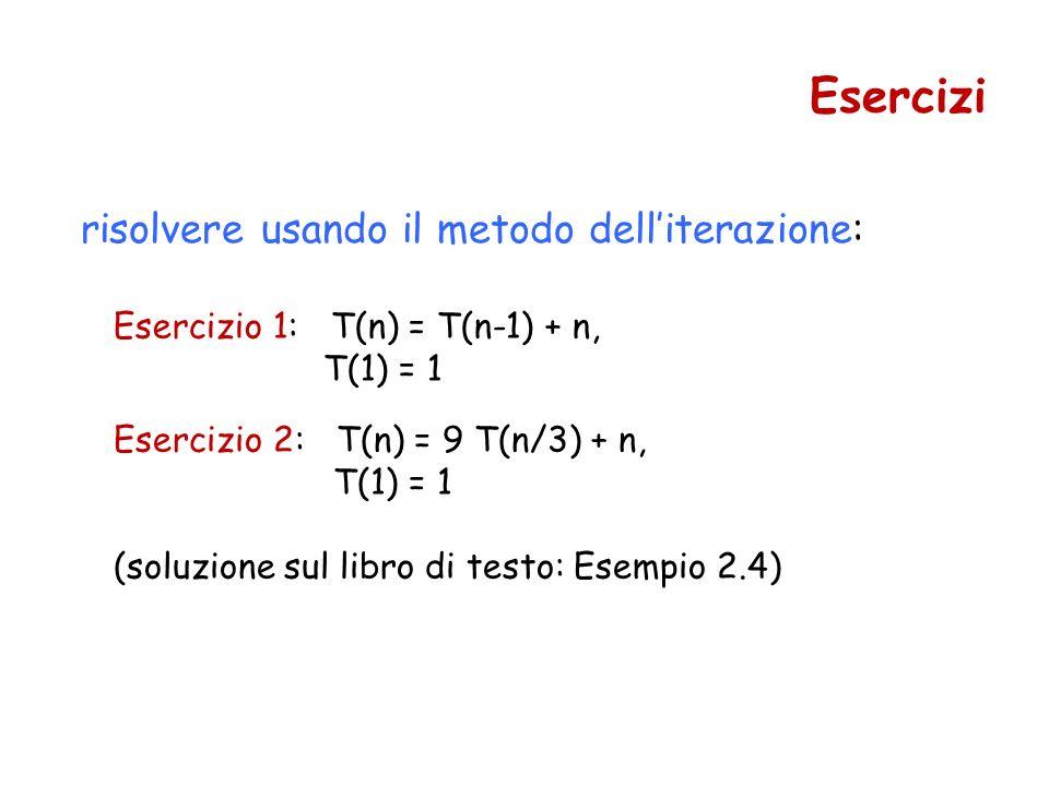 risolvere usando il metodo delliterazione: Esercizio 1: T(n) = T(n-1) + n, T(1) = 1 Esercizi Esercizio 2: T(n) = 9 T(n/3) + n, T(1) = 1 (soluzione sul