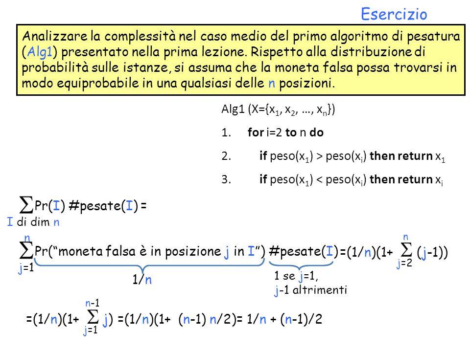 Analizzare la complessità nel caso medio del primo algoritmo di pesatura (Alg1) presentato nella prima lezione. Rispetto alla distribuzione di probabi