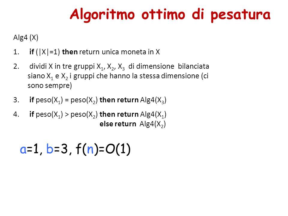 Algoritmo ottimo di pesatura a=1, b=3, f(n)=O(1) Alg4 (X) 1. if (|X|=1) then return unica moneta in X 2. dividi X in tre gruppi X 1, X 2, X 3 di dimen