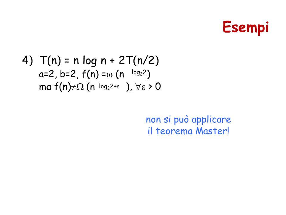 4) T(n) = n log n + 2T(n/2) a=2, b=2, f(n) = (n ) ma f(n) (n ), > 0 Esempi log 2 2 log 2 2+ non si può applicare il teorema Master!