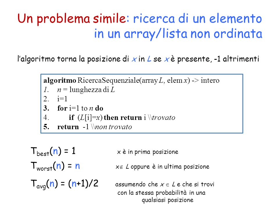 Una variante: ricerca di un elemento in un array/lista ordinata T(n)=T(n/2)+O(1) Algoritmo di ricerca binaria: uno strumento molto potente algoritmo RicercaBinariaRic(array L, elem x, int i, int j) -> intero 1.if (i>j) then return -1 2.m= (i+j)/2 3.if (L[m]=x) then return m 4.if (L[m]>x) then return RicercaBinariaRic(L, x, i, m-1) 5.