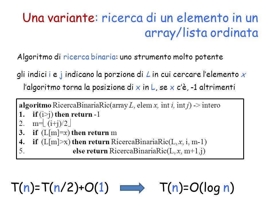 Una variante: ricerca di un elemento in un array/lista ordinata T(n)=T(n/2)+O(1) Algoritmo di ricerca binaria: uno strumento molto potente algoritmo R