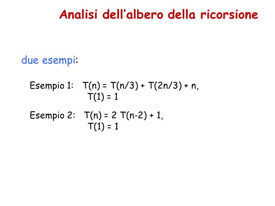 due esempi: Esempio 1: T(n) = T(n/3) + T(2n/3) + n, T(1) = 1 Analisi dellalbero della ricorsione Esempio 2: T(n) = 2 T(n-2) + 1, T(1) = 1