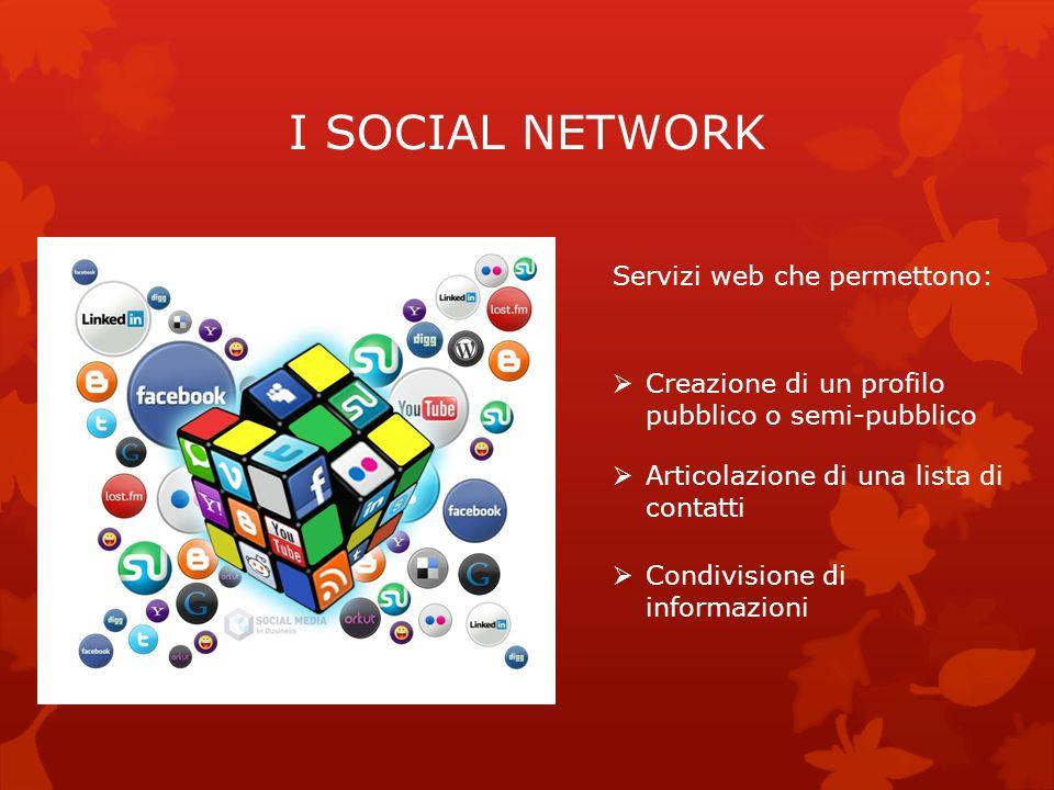 I SOCIAL NETWORK Servizi web che permettono: Creazione di un profilo pubblico o semi-pubblico Articolazione di una lista di contatti Condivisione di i